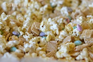 Candy-coated popcorn party mix