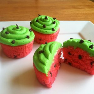 watermelon cupcake recipe for a watermelon-themed summer birthday