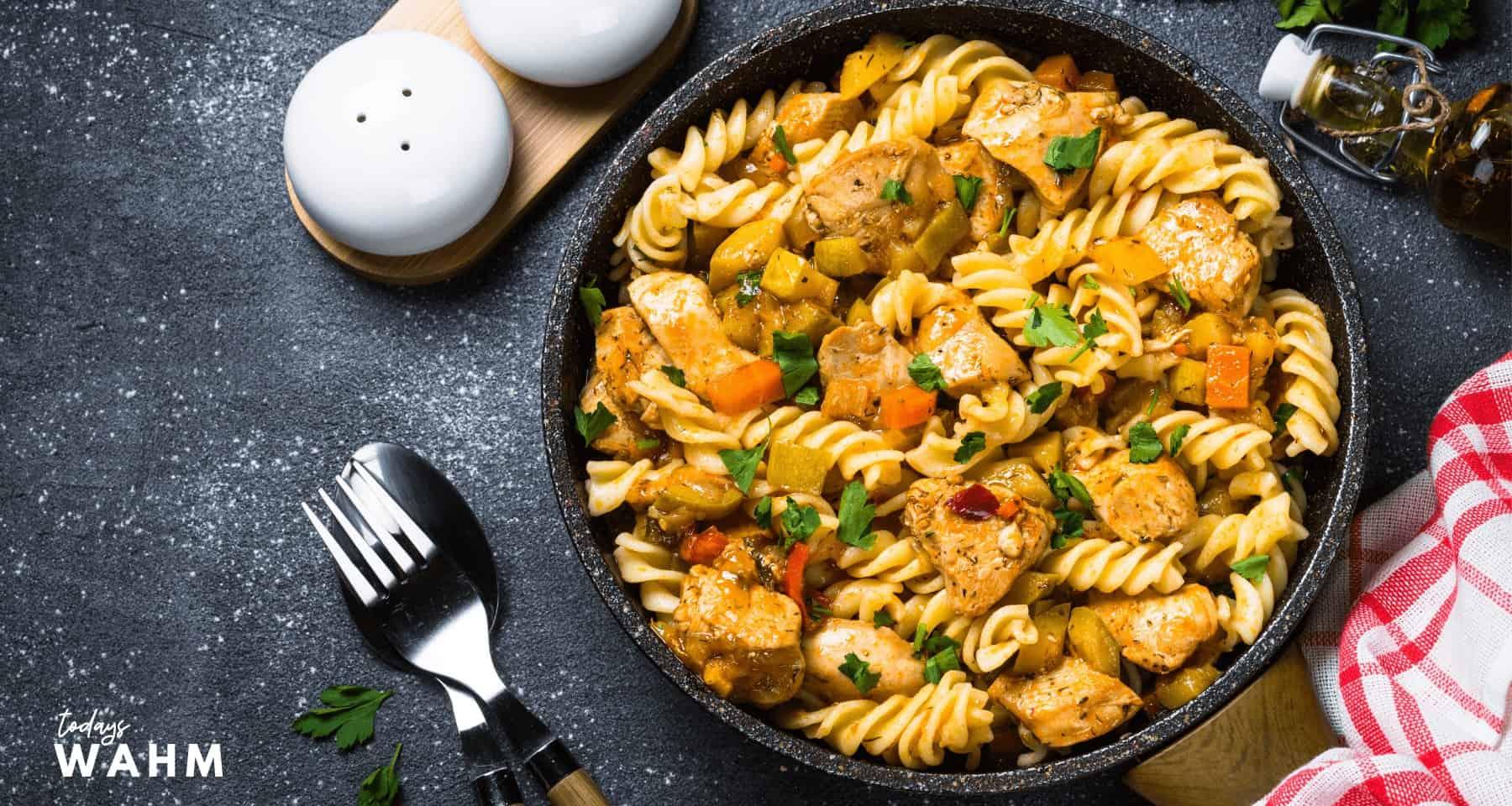 Easy Vegetarian Faux Chicken Pasta