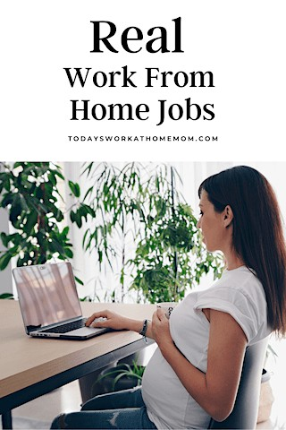 Pregnant woman looks for real work from home jobs for moms online